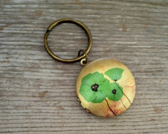 Poppy Locket Keychain, Aqua Blue Poppy Locket Key Chain, Floral Art Image Locket, Round Brass Locket, Poppy Keychain, Floral Keychain