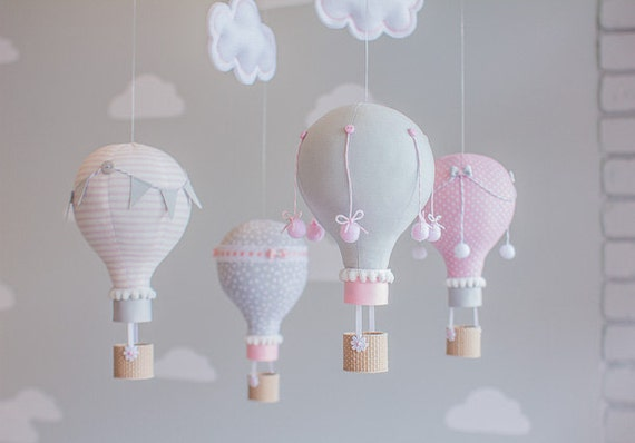 Pink and grey hot air balloon baby mobile nursery decor baby for Baby mobile pink and grey