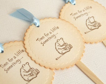 Winnie the Pooh Cupcake Toppers, Baby Boy Cupcake Toppers, Vintage Style Baby Shower Cupcake Topper, Cake Topper, Baby Boy, Set of 10, 003-B