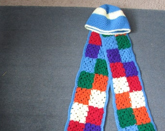 Granny square scarf with free hat!