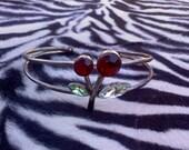Vintage cherry rhinestone bracelet
