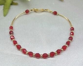 Ruby Bracelet Red Bracelet Red Crystal Bracelet 14k Gold Filled Bracelet Gift For Her Jewelry For Her Adjustable Bracelet BuyAny3+Get1 Free