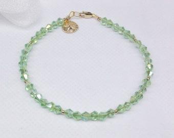 14k Gold Bracelet Gold Sand Dollar Bracelet Crystal Peridot Bracelet Crystal Bracelet Adjustable Bracelet 14k Gold Filled BuyAny3+1Free