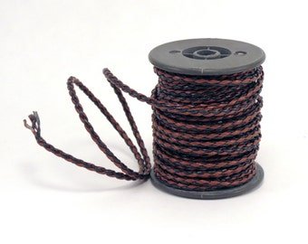 Braided Cord Leather Look Two Shades of Brown