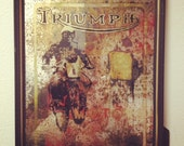 Decorative hand made gilded mirror; Triumph Motorcycle Ad