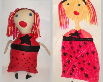 Your Child's Art Custom Made Toy, Draw your toy, personalized softie, Kids drawing