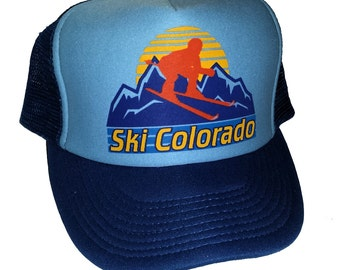 Ski Colorado  Mesh Trucker Hat Cap Snapback Skiing Mountain Sunset
