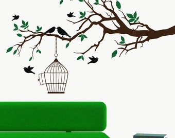 Modern wall decal birds and branch with birdcage wall art sticker