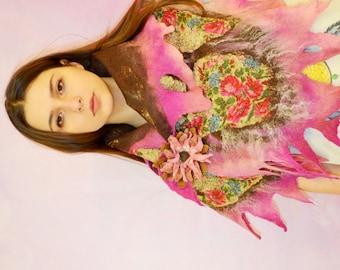 Felt Scarf, pink brown , Nuno felted shawl, felted scarf, nuno felt scarf, Russian shawl, floral scarf, OOAK, felted art