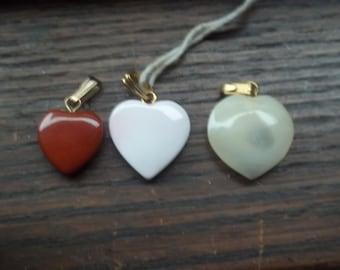 3 Semi precious heart charms