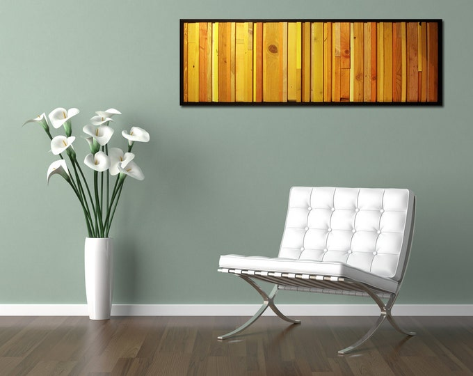 Citrus - Reclaimed Wood Wall Art in Yellows and Oranges - Modern Wood Art- Abstract Minimalist Art - Modern Wall Art