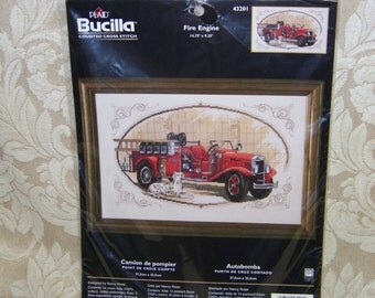 "Bucilla ""Fire Engine"" Counted Cross Stitch Kit #43201"