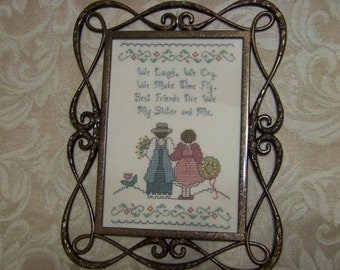 "Complete Cross Stitch on Linen  ""Sisters"" Framed - Very Nice!"