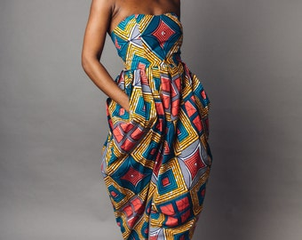 African Print Strapless Bianca Jumpsuit