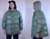 70s Eddie Bauer Goose Down Puffer Sea Green Hooded Mountain Parka Jacket
