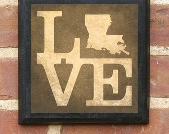 Louisiana La Love State Wall Art Sign Plaque Gift Present Home Decor Custom Personalized Color New