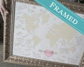 18x24 FRAMED Wedding Guest Book Alternative World Map - Or any Map Style, 18x24 - Custom Designed