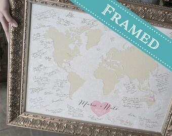 18x24 FRAMED Wedding Guest Book Alternative World Map - Or any Map Style, 18x24 - Custom Designed