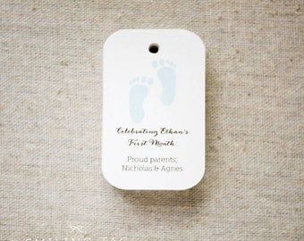 Baby Footprint Personalized Gift Tags - Baby Shower Gift Tags - First Birthday Favor Tags - Baby Shower Favor - Set of 24 (Item code: J484)
