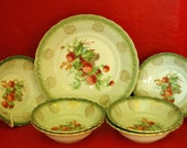 Vintage LIMOGE CHINA Co BERRY Set, 7 Piece, Master Berry / Vegetable Bowl, 6 Small Berry Bowls, East Liverpool, Oh. Free Shipping!