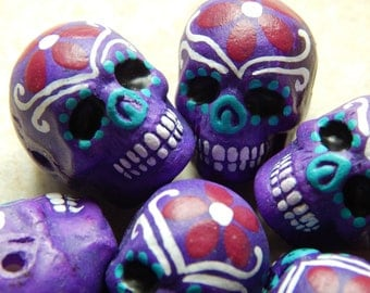 """22X17mm Purple """"Day of the Dead"""" Ceramic Handcrafted Skull Pendant - Bead, 1 PIECE (N6-Indoc599)"""