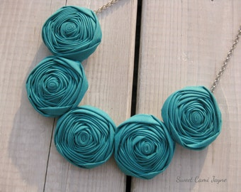 Fabric Necklace Bib Necklace Rosette Necklace Turquoise Statement Necklace Textile Necklace Handmade Necklace Unique Necklace Bridesmaid