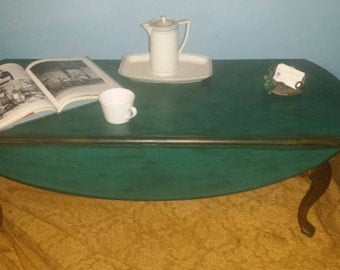 Vintage Revived Teal and Brown Double Drop Side Coffee Table