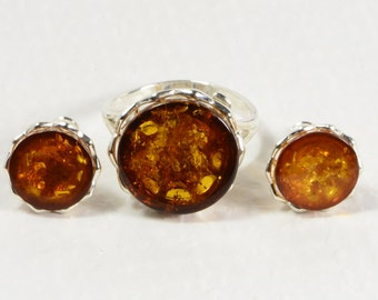 Baltic Amber Ring and Earrings Sterling Silver Ring Sterling Silver Earrings Gemstone Jewelry Amber Ring