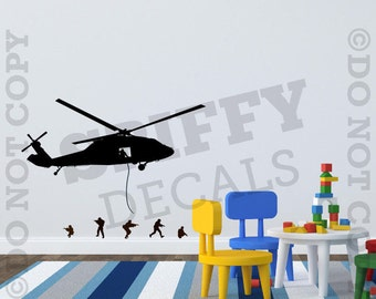 Helicopter And Army Men Vinyl Wall Decal Sticker Custom Boys Girls Nursery Playroom Bedroom