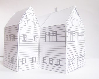 Three Diy Paper Houses Ready Design Templates To Print Cute