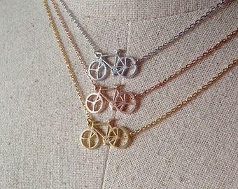 Bicycle Necklace, 18k Gold/Rose Gold/Silver, Dainty Necklace