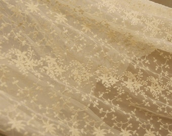 Wedding Lace Fabric in Cream,Flroal Lace Fabric for Bridal Gowns, Lace Caps, Shawls, Photo Props, Christening Gowns, Home Decor