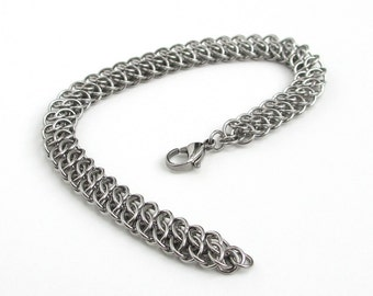 Stainless steel chainmaille bracelet, GSG weave, jewelry for men or women