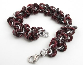 Maroon chainmaille bracelet, shaggy loops weave, glass chainmail jewelry