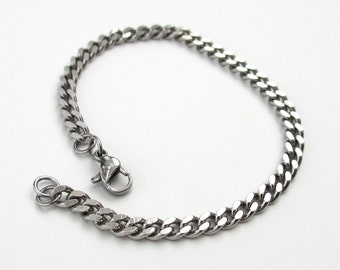 Stainless steel chain bracelet, men's steel bracelet, women's steel bracelet, 4mm curb chain bracelet