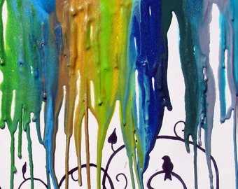 Rainbow Art - Bird Art Print - Drip Art - Home Decor - Blue Room - Swirls - Bird On A Wire - Wall Art - Baby Nursery - Peaceful - Nature