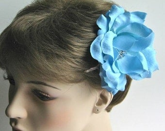 Blue Flower Hair Clip, Wedding Hair Accessory, Blue Rose Hair Fascinator, Bridal hair accessory
