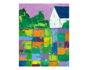 PRINT 8x10   Barn, Farm, abstract landscape, Impasto patchwork field by Elizabeth Rosen