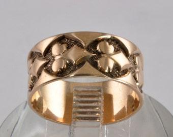 Victorian Wedding Ring - 14kt Rose Gold Vintage Wedding Band - Size 6 - Geometric Design - Rose Gold Ring - Antique Wedding Band - Wide