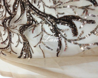 Sequined lace fabric, sequined tree fabric, costume fabric lace