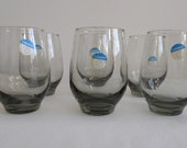 Gray Smoke Glass Mid-Century Modern Glassware Set of 6 by Libbey with original label