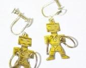 Hopi Earrings, kACHINA Dancers, Stamped .925, Ethnic Design, Native Jewelry, ESTATE S A L E, Item No. S086