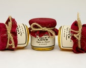 1 mini 2 oz. mason jar with maroon fabric, label, and twine bowl! So cute for a Christmas, fall, or winter wedding!