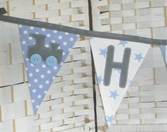 Grey and blue personalised banner, bunting. Baby boy. Christening gift. Fabric flags. Stripes, stars, spots. Trains, stars, elephants.