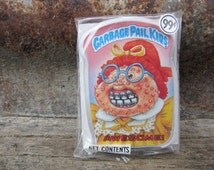 Vintage Garbage Pail Kids AWESOME! gpk Card Button Pin Back Plastic Card Topps 1986 Unopened Gag Gift Party 80s GPK Collectible 1980s vtg