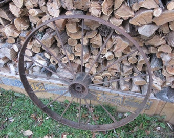 PICK UP ONLY Huge Antique Old Fashioned Farm Wheel Rim Rusty Rusted Big Wheel Large Old Wheels Farming Antique Decor Landscaping Gardening
