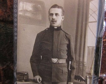 Vintage Photograph Victorian Man in Uniform Military Foreign Army  Early 1900s Antique Picture Black & White Photo Antique Photograph