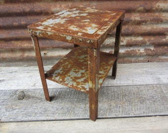 Vintage Industrial Table Heavily Rusted and Pitted Chipping Gray Paint Very Heavy Steel Table Hand Made Vintage 1960s Era Furniture vtg Old
