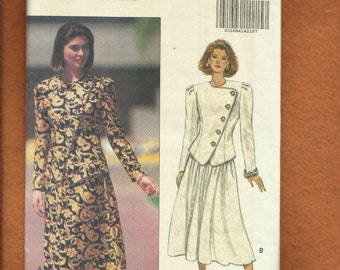 Butterick 6334 Mother of The Bride Asymmetrical Princess Seams Jacket & Flared Skirt Sizes 6..8..10 UNCUT