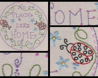 No Place Like Home.No1 Hand Embroidery Pattern by PDF.Circle